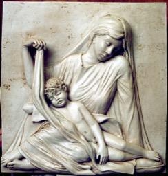 Pannello a rilievo-Maternità con Bambino dormiente
