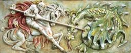 Pannello a rilievo Cavaliere che Lotta col Drago